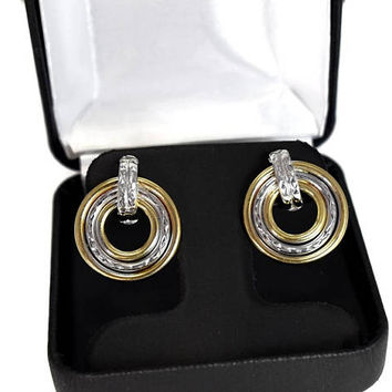 14k White Yellow Gold Circle Earrings,  Two Tone Gold Drop Earrings