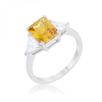 Classic Canary Yellow Rhodium Engagement Ring (size: 06) R08451R-C61-06