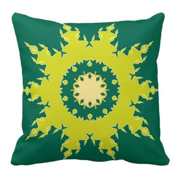 Green mandala design pillow