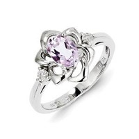 Sterling Silver Diamond & Pink Amethyst Ring