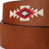 Southwestern-Embroidered Faux Leather Belt