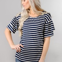 Striped Ruffle Sleeve Tunic