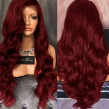 Women Long Wavy Lace Front Free Part Synthetic Wig