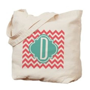 Monogram Letter D Chevron Stripes Tote Bag> Coral Chevron with Turquoise Monogram> Scarebaby Design