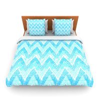 "Marianna Tankelevich ""Mint Snow Chevron"" Blue Chevron Fleece Duvet Cover"