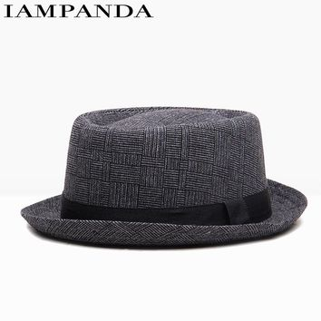 IAMPANDA brand 2017 new unisex cotton plaid Spring autumn men women British retro jazz hat fashion Panaman hats fedora Fedoras