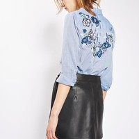 Vine Floral Embellished Shirt - Tops - Clothing