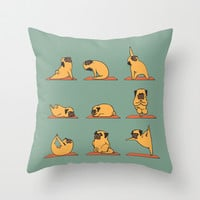 Pug Yoga Throw Pillow by Huebucket
