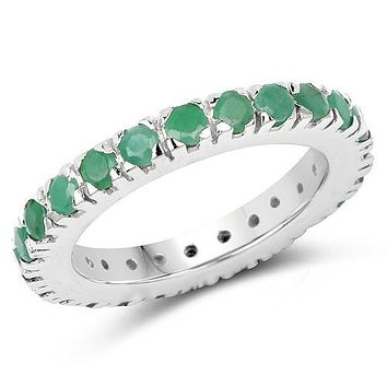 Natural Round Cut 1.68CT Emerald .925 Sterling Silver Wedding Band Eternity Ring