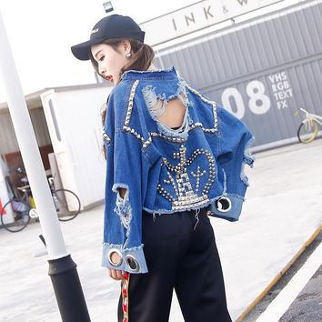 Trendy TREND-Setter 2017 Autumn Ripped Denim Short Jacket For Women Punk Style Rivet Queen Spring Jean Jacket And Coat Loose Streetwear AT_94_13