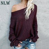 NLW 2018 Large Size Off Shoulder Sweater Pullover Women Casual Harajuku Sweater Sexy Streetwear Autumn Jumpers Plus Size XXXL