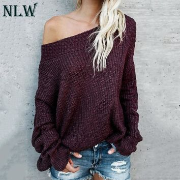 471586d492e NLW 2018 Large Size Off Shoulder Sweater Pullover Women Casual H