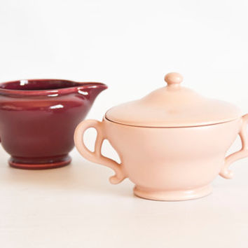 Vintage Franciscan El Patio Creamer and Sugar Set, Coral Satin and Gloss Maroon, 1930s Art Deco USA California Pottery, Teatime