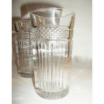 Libbey Glass Rock Sharp Pressed Tumblers S/2