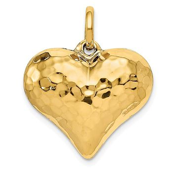 14k Yellow Gold Hollow Hammered Puffed Heart Charm or Pendant, 22mm