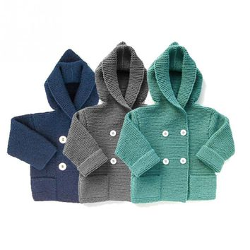 Winter Baby fashion Autumn Sweater Coat Infant Hooded Knitted Sweater Baby Warm Coat