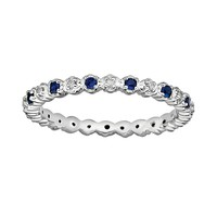 Stacks & Stones Sterling Silver Lab-Created Sapphire & Diamond Accent Stack Ring (Blue)