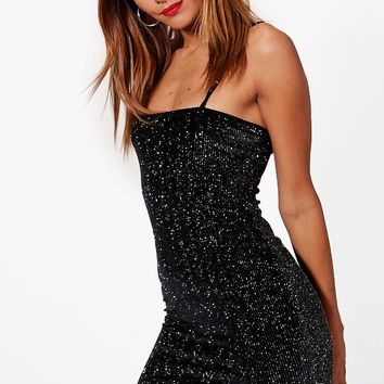 Vic Glitter Velvet Square Neck Bodycon Dress | Boohoo