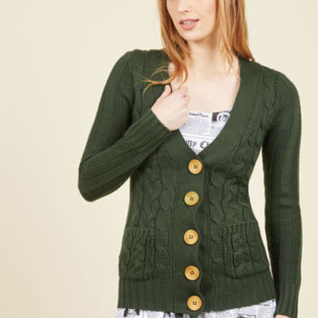 Your Fireside of the Story Cardigan in Forest | Mod Retro Vintage Sweaters | ModCloth.com