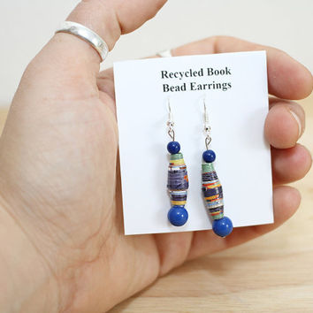 Denim Blue Earrings, Made From Recycled Paper Beads, From Recycled Book Pages, Indigo Earrings, Eco Friendly Earrings