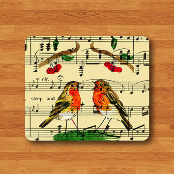 Song Couple Bird Singing Mouse Pad Color Drawing Music Piano Sheet MousePad Desk Deco Work Pad Mat Rectangle Personal Gift Flying Animal