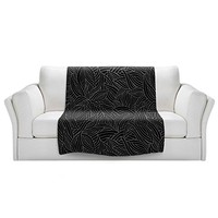 Blankets Ultra Soft Fuzzy Fleece 4 SIZES! DiaNoche Designs - Julia Grifol Black Leaves Home Decor Bedroom Couch Throw Blankets