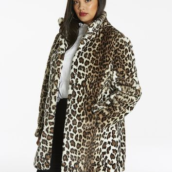 FUNNEL NECK LEOPARD FAUX FUR COAT PLUS SIZES