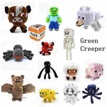 Minecraft creeper Tnt plush Pillow Minecraft  Pig&spider&ocelot&Snow Golem&zombie&Rabbit&Panther Stuffed Animals Plush Doll Toy