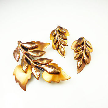 Renoir Laurel Leaf Brooch Earrings Copper 1950s Vintage Jewelry