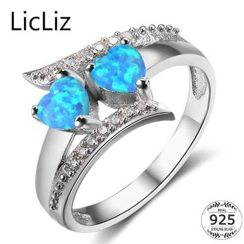 LicLiz 925 Sterling Silver Opal Rings Women Cubic Zirconia Heart Ring Cross Layer Wedding Band Pave CZ Eternity Ring CLR0372