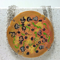 Friendship Necklaces Veggie Pizza Set of 4 puzzle necklaces Polymer clay jewelry