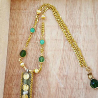 Green and Gold Necklace --- Coin Jewelry -- Good Fortune Necklace --- Resin Pendant --- Lucky Coin Jewelry