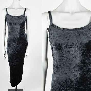 Vintage 90s Tank Dress / 1990s Black Crushed Velvet Minimalist Maxi Dress M