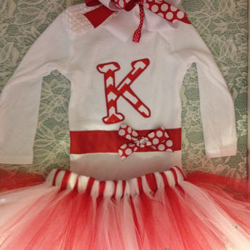 FREE SHIPPING Custom Handmade bling red white applique letter snap-tee/Onesuit tutu with hair bow