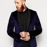 Noose & Monkey | Noose & Monkey Navy and Silver Polka Dot Velvet Blazer In Skinny Fit at ASOS