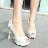 Women Bridal Shoes Open toe High Heels Shoes White Woman Wedding Shoes Peep Toe Platform Shoes Ladies sequined Pumps 3004