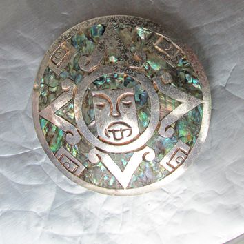 Vintage Taxco Mexico Abalone Shell Sterling Silver Aztec Inca Face MASK Pendant or Pin
