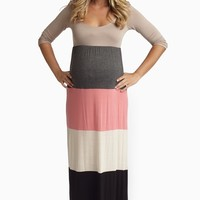 Mocha Grey Multi-Color Colorblock Maternity Maxi Dress