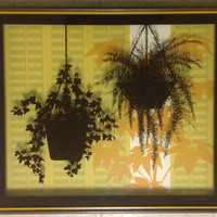 Vintage 1970s Mid-Century Gloria Eriksen 3-Dimensional Painted Glass Fern Bar Wall Art
