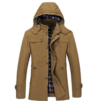 Mens Hooded Mid Length Winter Trench Coat in Brown