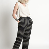 Vintage 90s Black and White Striped Elastic Waist Lounge Pants | S/M