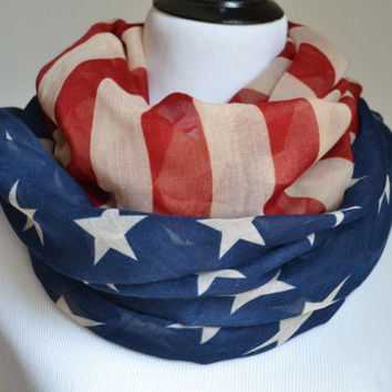 Flash Sale American Flag Infinity Scarfs Snood USA Scarves American Star star bangled banner scarf Red and Blue star Scarf