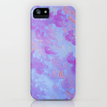 PURPLE PLUMES - Soft Pastel Wispy Lavender Clouds Lilac Plum Periwinkle Abstract Acrylic Painting  iPhone Case by EbiEmporium