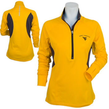WVU Ladies Under Armour Capture 1/2 Zip in Gold