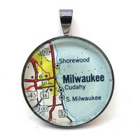 Road Map Pendant of Milwaukee Wisconsin from by CarpeDiemHandmade