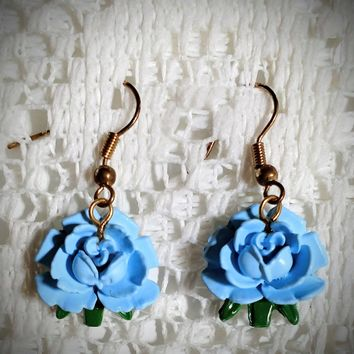 Beautiful Blue Roses Earrings - Only 1 Available!