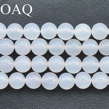 4-12mm Beads For Jewelry Making White Agat Stone Beads To Make Bracelets Jewellery DIY Accessories Carnelian Beads Craft