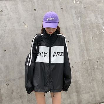 e1a0f3d686e6d Women s Bomber Korean Punk Harajuku Ulzzang College Style Loose Casual  Letter Jacket Female Cute Japan Kawaii