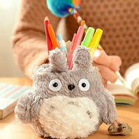 Totoro Plush Pencil Holder grey