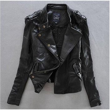Women slim cool punk style genuine leather imported sheep skin jacket Korea outwear Jaqueta feminina de couro jaqueta Feminina
